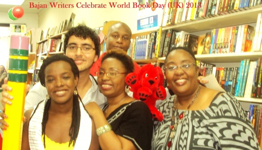 Bajan Writers At DAYS Bookstore: Shakirah Bourne, Mark Ramsay, Sandra Sealy (centre), Cher Corbin, Simon Dolzy (back)