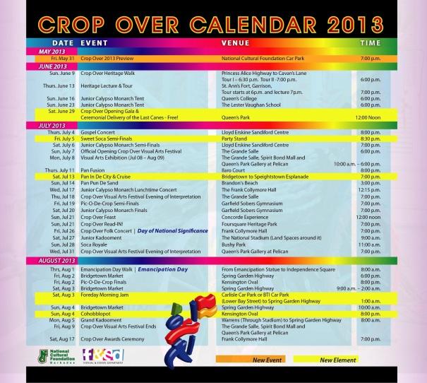 National Cultural Foundation Crop Over Calendar 2013