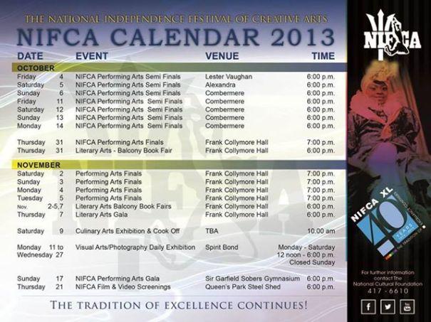 2013 NIFCA calendar
