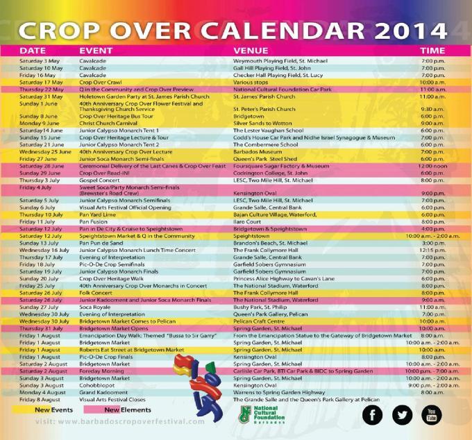 National Cultural Foundation Crop Over Calendar 2014
